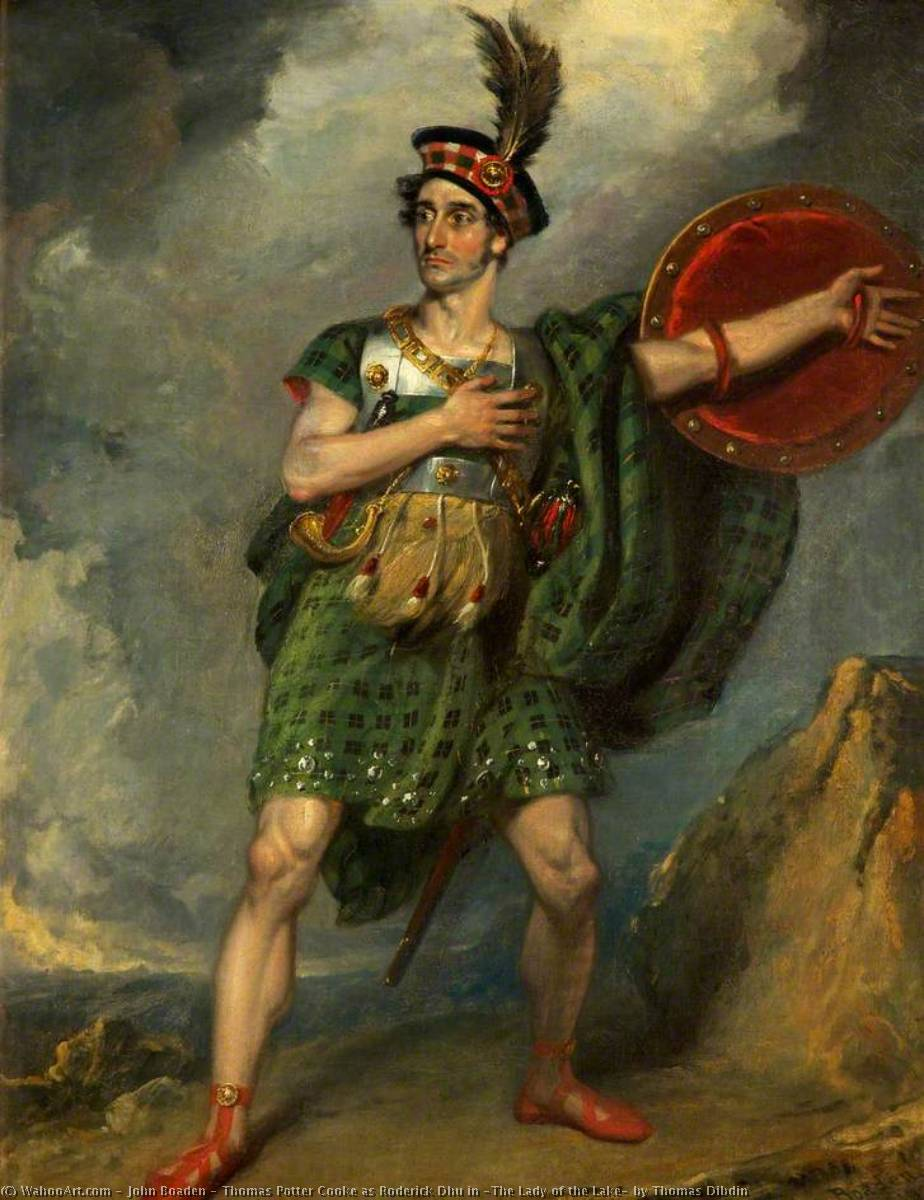 Thomas Potter Cooke as Roderick Dhu in `The Lady of the Lake` by Thomas Dibdin, 1818 by John Boaden | Painting Copy | ArtsDot.com