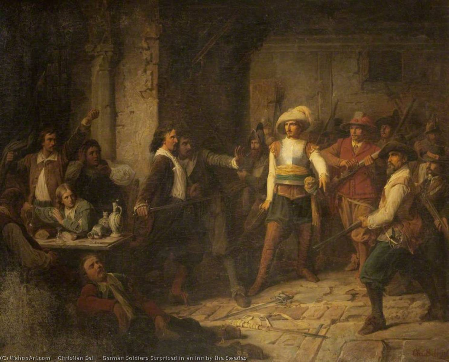 Order Paintings Reproductions | German Soldiers Surprised in an Inn by the Swedes, 1869 by Christian Sell | ArtsDot.com