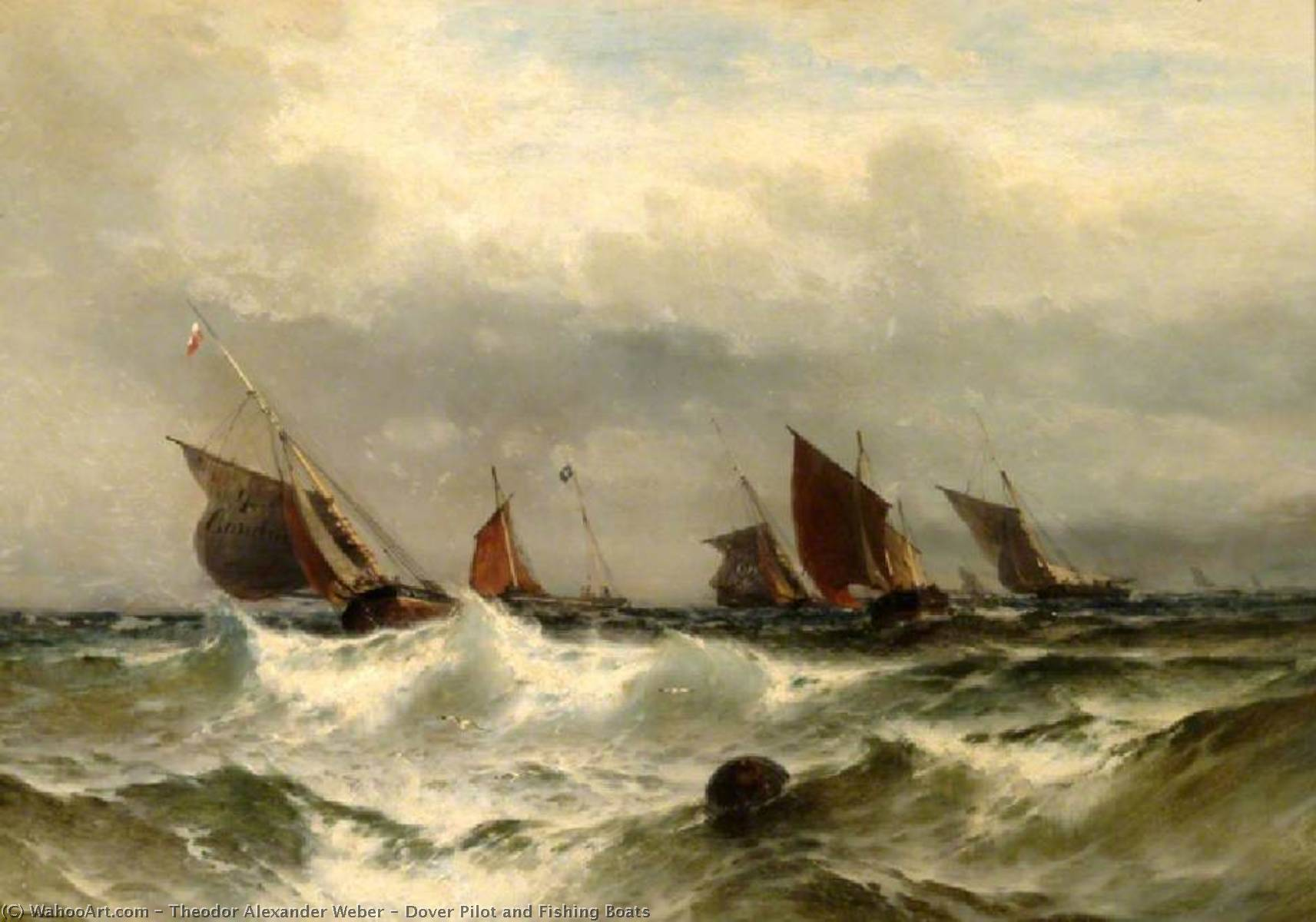 Dover Pilot and Fishing Boats, 1882 by Theodor Alexander Weber (1838-1907) | Oil Painting | ArtsDot.com