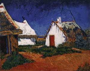 Joos Vincent de Vos - Three White Cottages in S..