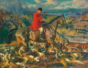 Alfred James Munnings - The Huntsman and his Houn..