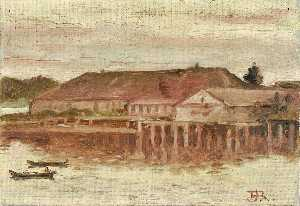 Theodore J. Richardson - Trading Post and Wharf Buildings, Sitka, Evening