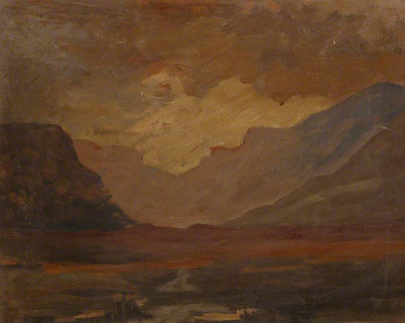 Mountainous Landscape with a Loch by Margaret Frances Anne Vane-Tempest-Stewart | Reproductions Margaret Frances Anne Vane-Tempest-Stewart | ArtsDot.com