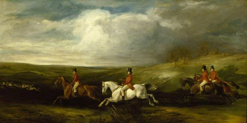 Order Museum Quality Reproductions : The Four Sons of Baron Nathan Mayer de Rothschild Following Hounds (also known as Full Cry), 1841 by Francis Grant (1803-1878, United Kingdom) | ArtsDot.com