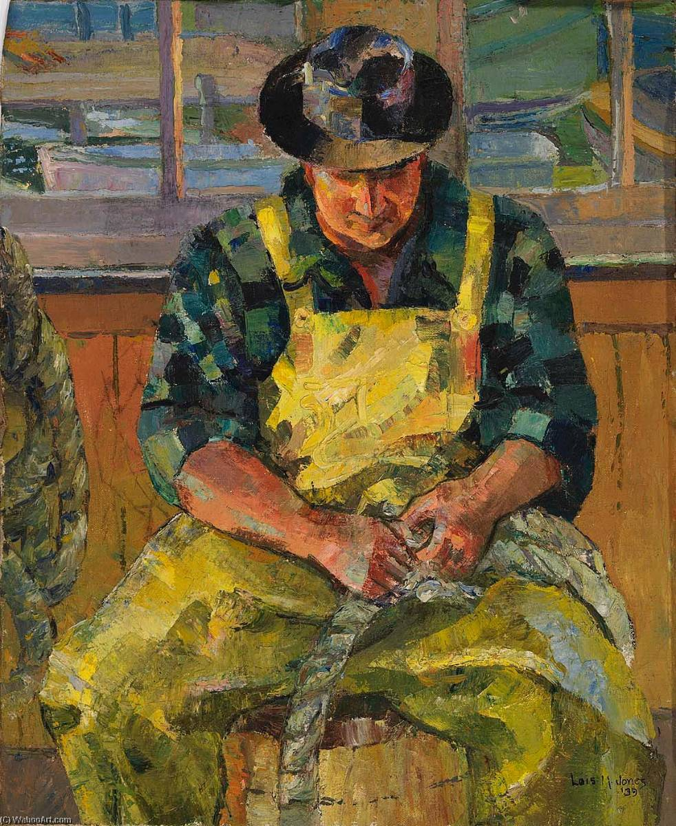 Seated Man in Yellow Overalls, 1939 by Lois Mailou Jones (1905-1998, United States) | Art Reproduction | ArtsDot.com