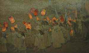 George Sherwood Hunter - Jubilee Procession in a Cornish Village, June 1897