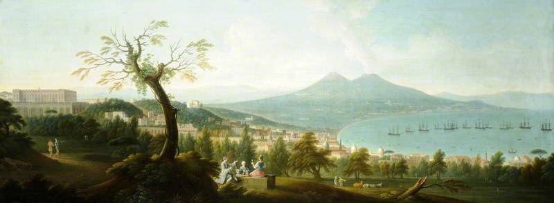 A View of the Bay of Naples from San Martino (the Vomero) with a Fleet at Anchor, Vesuvius beyond and the Palazzo di Capodimonte to the Left, 1747 by Gabriele Ricciardelli (1743-1782) | Reproductions Gabriele Ricciardelli | ArtsDot.com