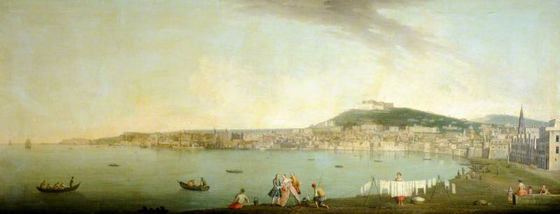 A View of Naples Seen from the South with Maschio Angiono and the Monastery of San Martino on the Hill beyond by Gabriele Ricciardelli (1743-1782) | Reproductions Gabriele Ricciardelli | ArtsDot.com