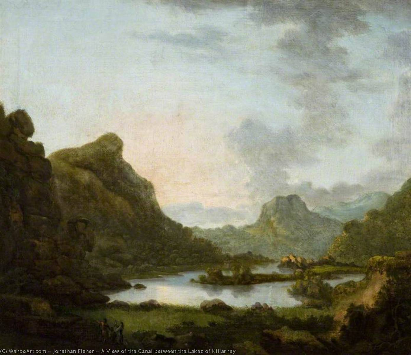 A View of the Canal between the Lakes of Killarney, 1770 by Jonathan Fisher | Oil Painting | ArtsDot.com