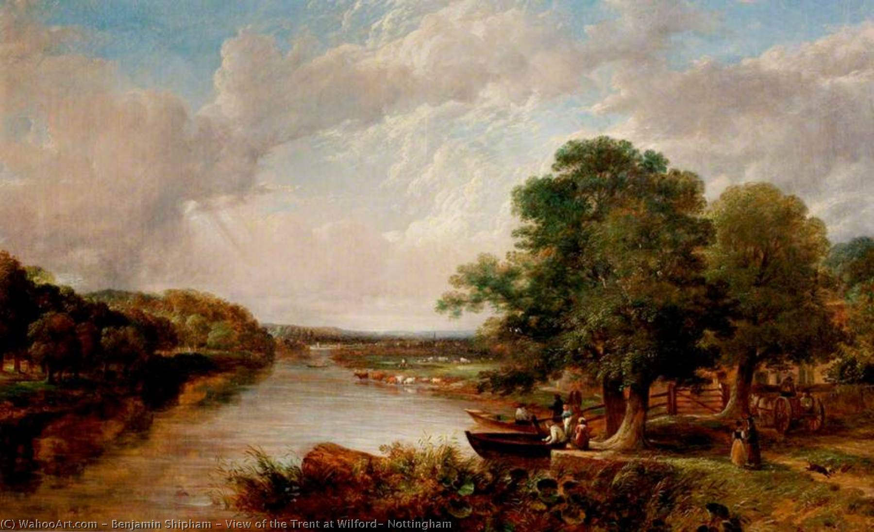View of the Trent at Wilford, Nottingham, 1830 by Benjamin Shipham | Museum Quality Reproductions | ArtsDot.com