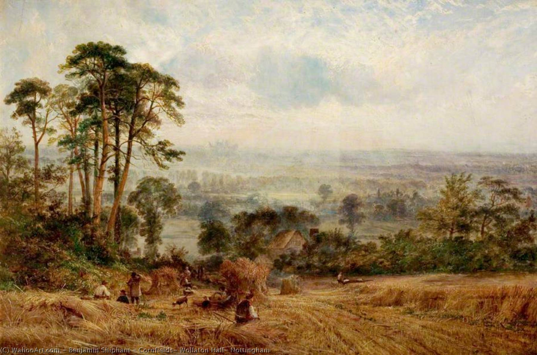 Order Paintings Reproductions | Cornfields, Wollaton Hall, Nottingham by Benjamin Shipham | ArtsDot.com
