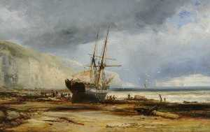 Ralph Stubbs - Sailing Ship on a Beach