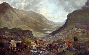 William Perring Hollyer - Scottish Landscape with C..