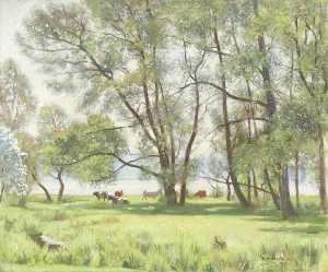 William Lionel Waddington - Trees by the Lake