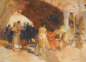 William Russell Flint - Gitanas Quarrelling, Salamanca
