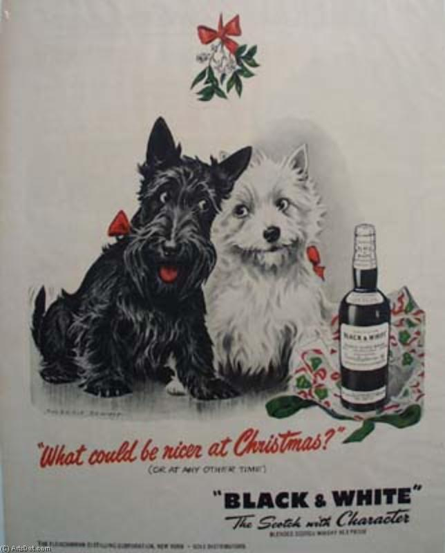 Dogs bottle - Ads - Vintage - Black - White (AC4N9F) | Poster On Canvas Vintage Ads | ArtsDot.com