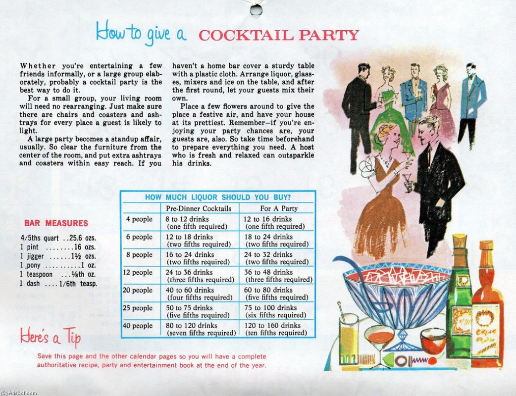 Order Poster On Canvas Vintage | How to give a cocktail party - Drinks - Vintage - Mix (AC4SMT) | ArtsDot.com
