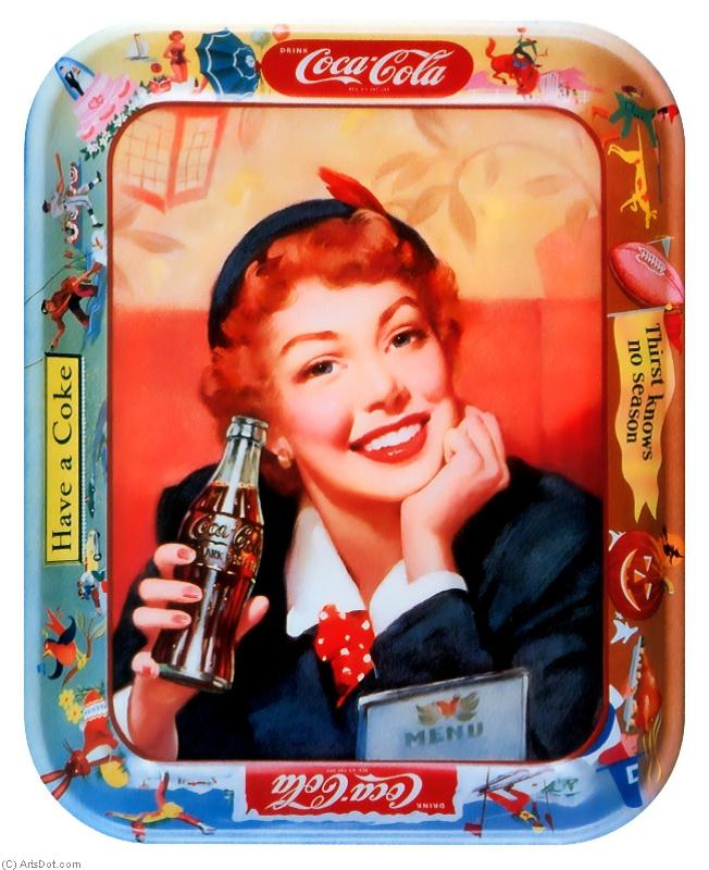 Coca-Cola Posters red-haired woman - Drinks - Vintage - Soft Beverages, Coca-Cola, People, Women, Portrait (AC4TSW) | Print On Canvas Vintage | ArtsDot.com
