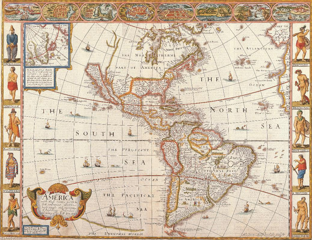 Order Fine Art Print Vintage | America with those known parts in that unkwowne worlde both people and manner od buildings (1626) - Maps - Vintage - Continents - America (AC563K) | ArtsDot.com