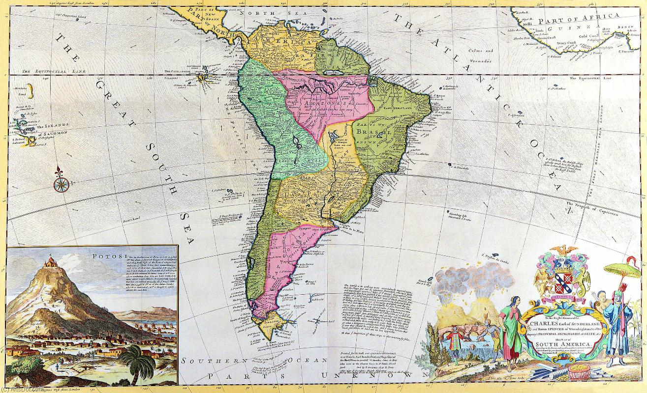 Order Poster On Canvas Vintage | The map of South America - Maps - Vintage - Continents - America (AC563Y) | ArtsDot.com