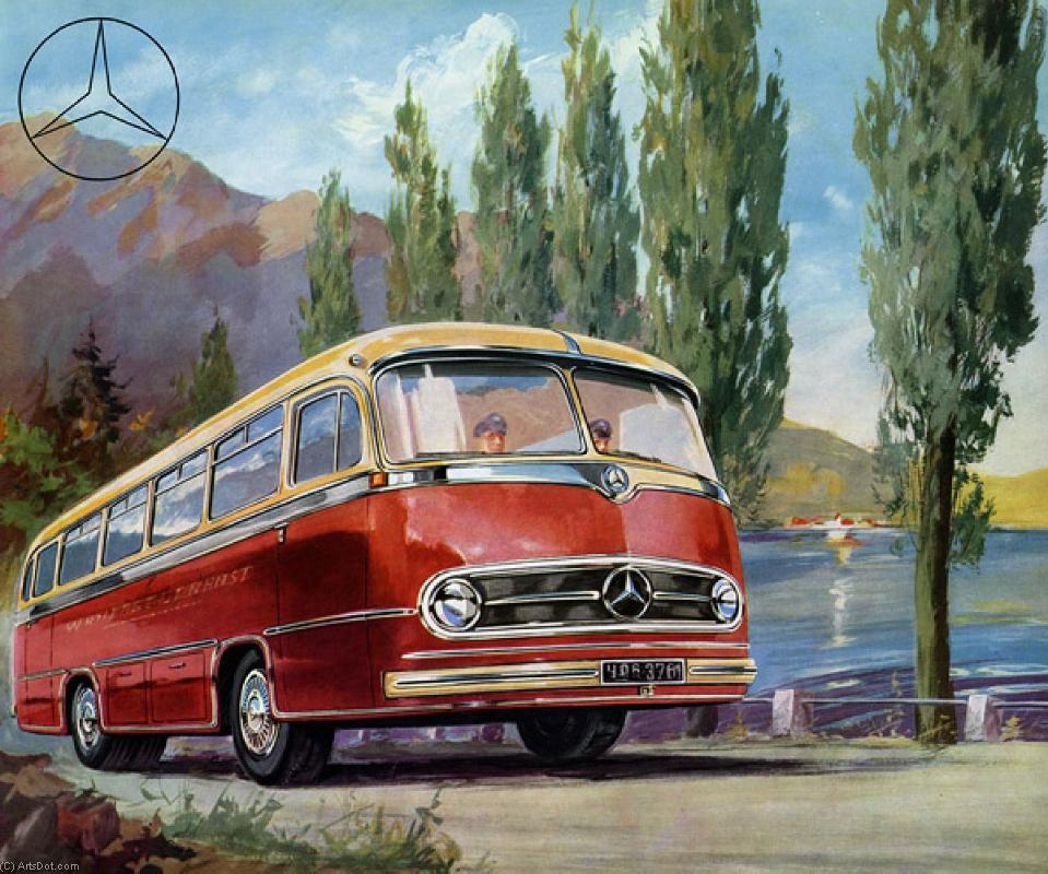 Order Poster On Canvas Vintage | Bus - Transportation - Vintage - Bus (AC5CE3) | ArtsDot.com