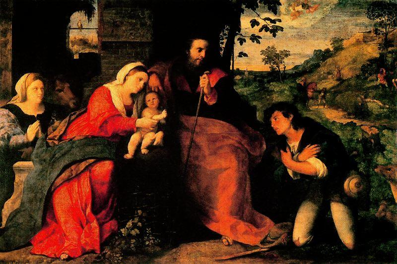 The Adoration of the Shepherds with a Donor by Palma Il Vecchio (1480-1528) | Painting Copy | ArtsDot.com