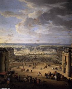 Jean-Baptiste Martin (Martin Des Batailles) - The Stables Viewed from the Château at Versailles