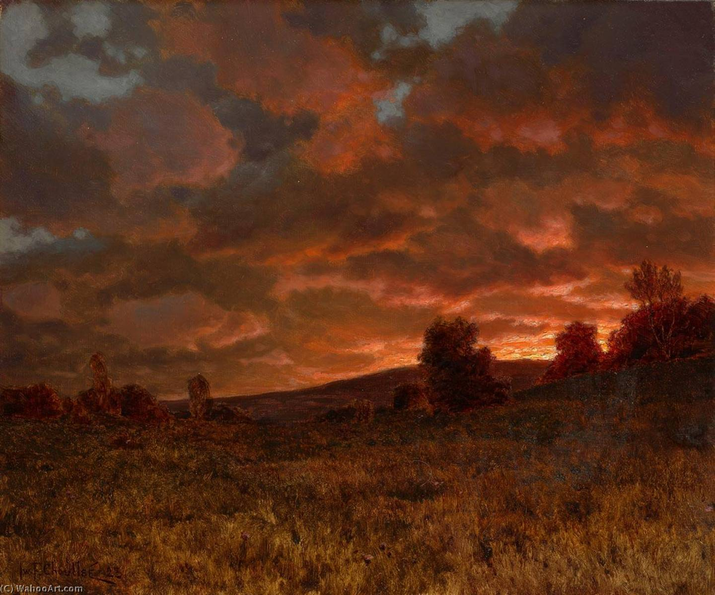 Landscape at Sunset by Ivan Fedorovich Choultse (1874-1939, Russia) | Museum Art Reproductions | ArtsDot.com