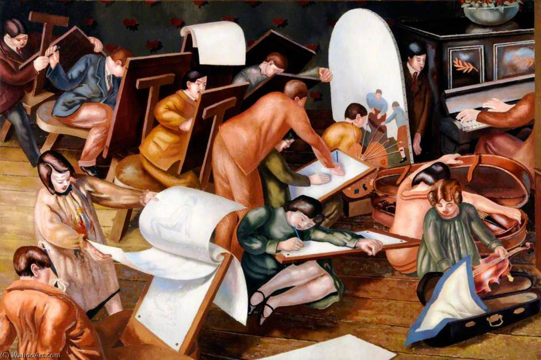 The Art Class (left outer panel from the `Empire Marketing Board` series), 1929 by Stanley Spencer (1891-1959, United Kingdom) | Oil Painting | ArtsDot.com