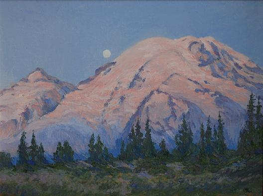 Moon Set and Sunrise Glow, (painting), 1964 by Mary Agnes Yerkes (1886-1989, United States) | Painting Copy | ArtsDot.com