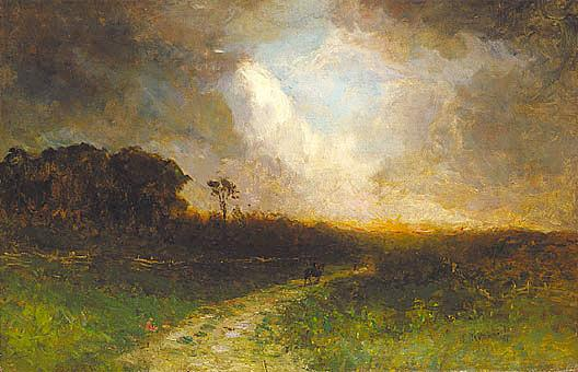 Untitled (landscape, man on horse), (painting), 1884 by Edward Mitchell Bannister (1828-1901, Canada) | Museum Art Reproductions | ArtsDot.com
