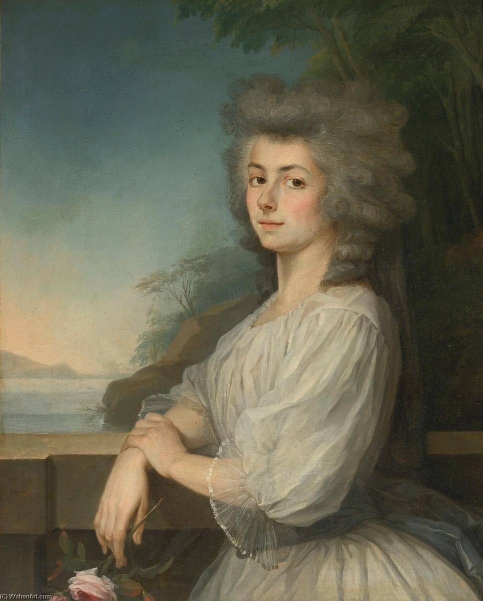 Portrait of a Woman on a Terrace, a landscape beyond by Antoine Vestier Avallon (1740-1824) | Art Reproduction | ArtsDot.com