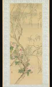 Tsubaki Chinzan - Small Birds on a Willow B..