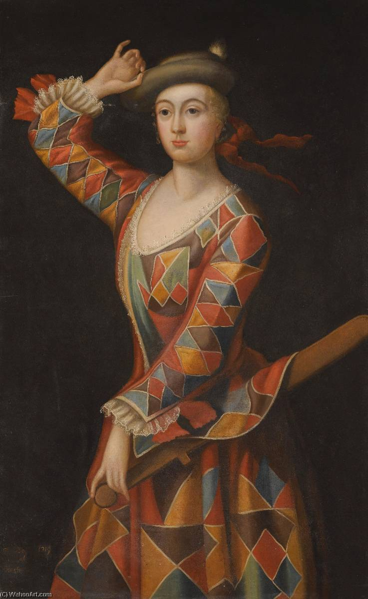Portrait of Mrs. Hester Booth, nee Santlow (c.1690–1773) dressed as a Harlequin by John Ellys | Museum Art Reproductions | ArtsDot.com