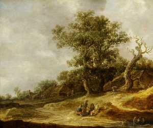 Jan Van Goyen - Landscape with Cottages o..
