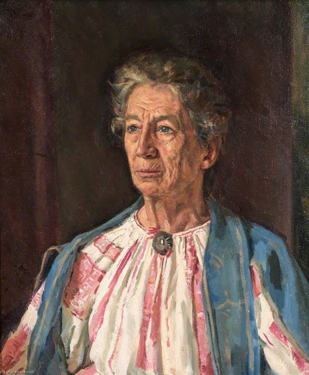 Old Woman in a Blue Cardigan by Ivor Williams (1908-1982, United Kingdom) | Painting Copy | ArtsDot.com