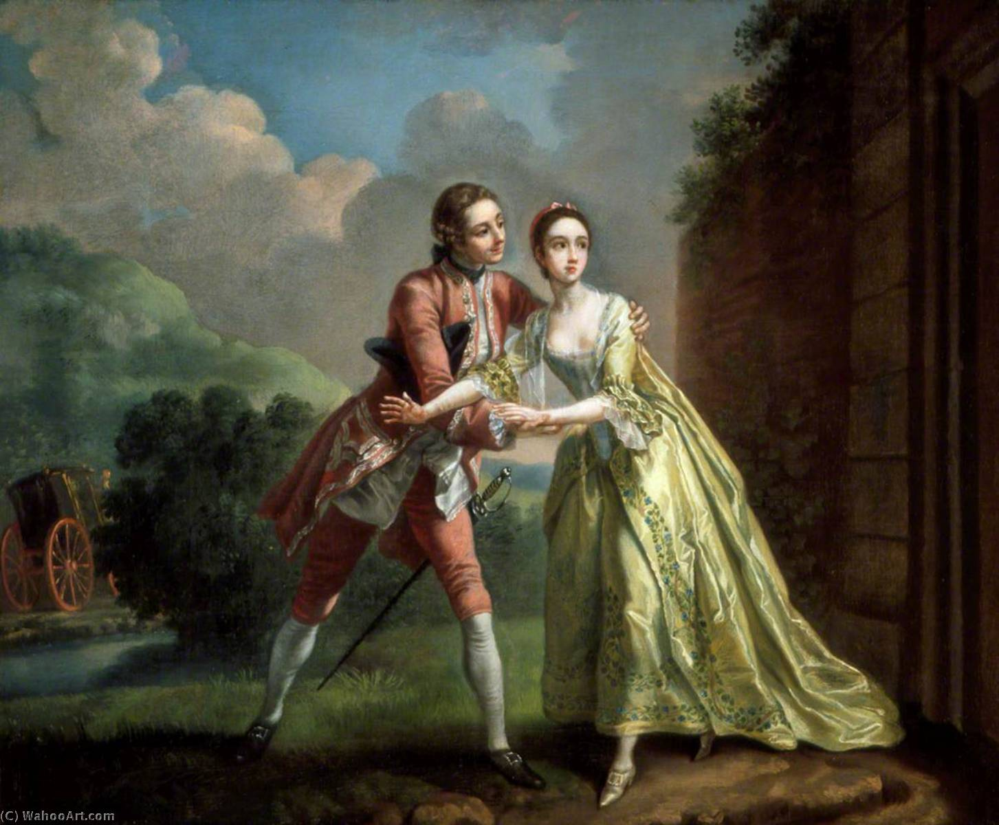 `Robert Lovelace Preparing to Abduct.`, 1753 by Francis Hayman (1708-1776, United Kingdom) | Museum Art Reproductions | ArtsDot.com