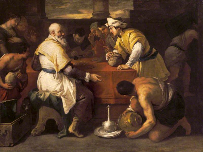 The Parable of the Prodigal Son Receiving his Portion, 1680 by Luca Giordano (1634-1705, Italy) | Museum Art Reproductions | ArtsDot.com
