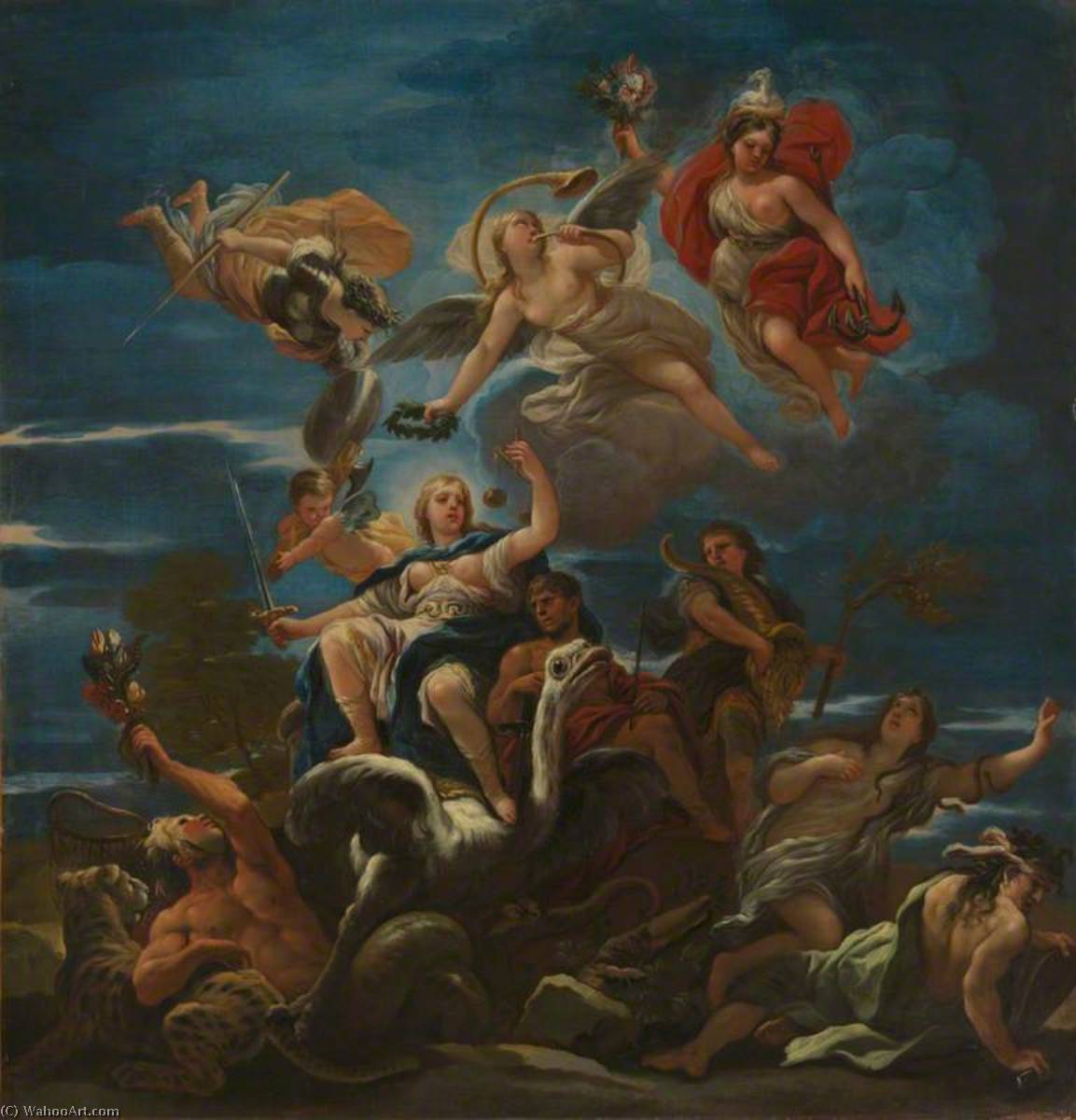 Allegory of Justice, 1680 by Luca Giordano (1634-1705, Italy) | Art Reproduction | ArtsDot.com