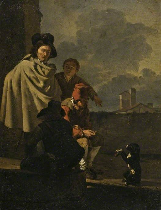 Italians with a Dog, 1650 by Karel Dujardin (1626-1678, Netherlands) | Museum Art Reproductions | ArtsDot.com