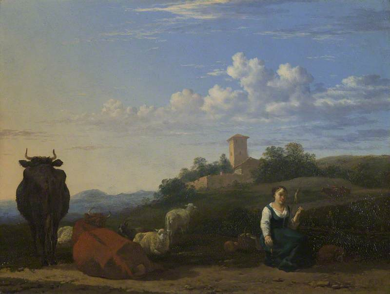 A Woman with Cattle and Sheep in an Italian Landscape, 1650 by Karel Dujardin (1626-1678, Netherlands) | Oil Painting | ArtsDot.com