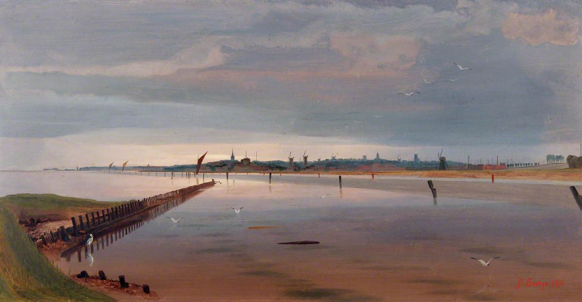 Breydon Water, Norfolk, 1871 by Anthony Frederick Augustus Sandys (1829-1904, United Kingdom) | Museum Art Reproductions | ArtsDot.com