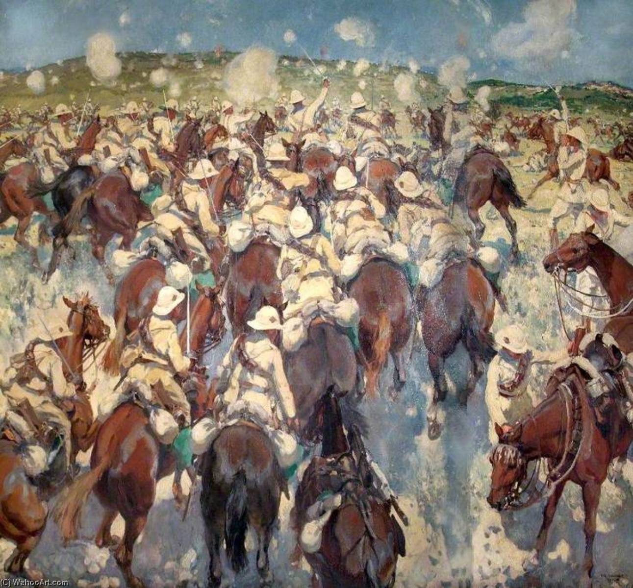 The Charge of the Royal Buckinghamshire Hussars at El Mughar, Palestine, 13 November 1917, 1920 by Thomas Cantrell Dugdale (1880-1952, United Kingdom) | Oil Painting | ArtsDot.com