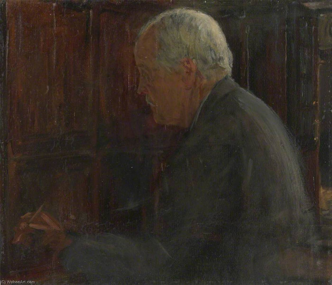 Arthur James Balfour, 1st Earl of Balfour (1848–1930), Foreign Secretary (preparatory study for `The Supreme War Council in Session at Versailles on 3rd July 1918`), 1918 by Herbert Arnould Olivier | Art Reproduction | ArtsDot.com