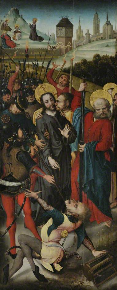 Betrayal of Christ, with the Agony in the Garden by Master Of The View Of Saint Gudule | Museum Quality Reproductions | ArtsDot.com