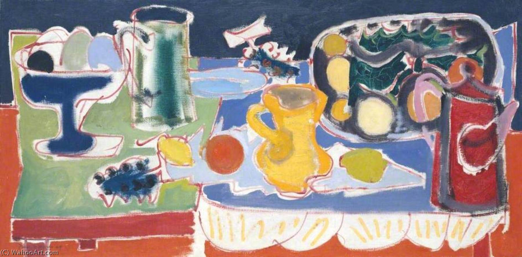 The Long Table with Fruit 1949, 1949 by Patrick Heron (1920-1999, United Kingdom) | Art Reproduction | ArtsDot.com