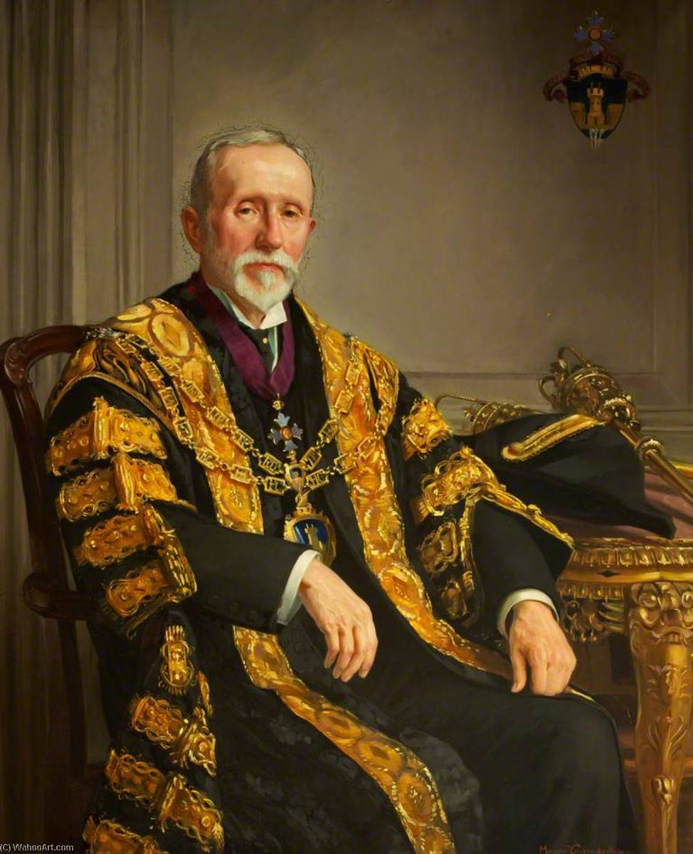 Hopkin Morgan, Mayor of Neath (1894, 1911, 1917 1921) by Margaret Lindsay Williams (1888-1960) | Painting Copy | ArtsDot.com