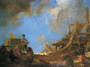 William Russell Flint - Shipyard Gleaners