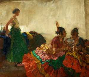 William Russell Flint - Gitana Dancers Resting, Albaicin, Granada