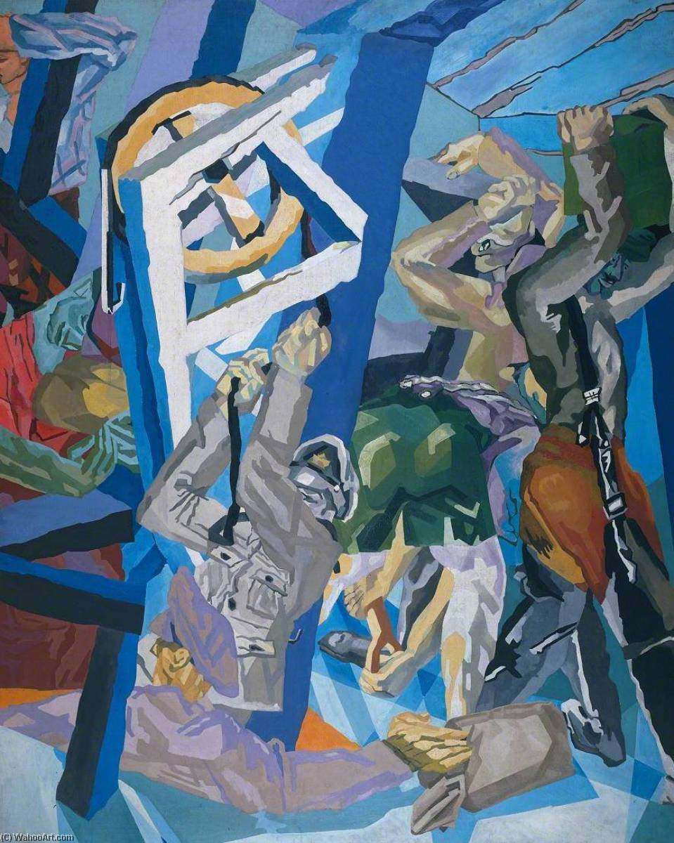 Study for `Sappers at Work A Canadian Tunnelling Company, Hill 60, St Eloi`, 1918 by David Garshen Bomberg (1890-1957, United Kingdom) | Museum Art Reproductions | ArtsDot.com